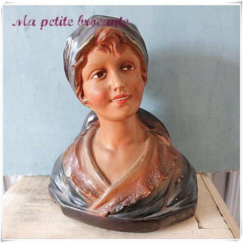 Ancien buste femme plâtre Citti frères